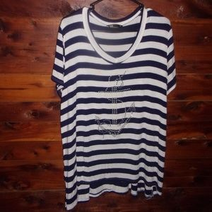 SJS Nautical Anchor Plus Size Top made in USA